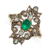 ANTIQUE EMERALD AND DIAMOND RING, 19TH CENTURY mounted in yellow gold and silver, the openwork