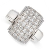 REVERSIBLE DIAMOND RING, MELLERIO in 18ct white gold, the front set with a reversible panel, one
