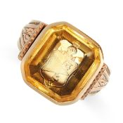 ANTIQUE CITRINE INTAGLIO SEAL RING in yellow gold, set with an emerald cut citrine, the face reverse