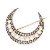 AN ANTIQUE NATURAL PEARL AND DIAMOND CRESCENT MOON BROOCH, 19TH CENTURY in 18ct yellow gold and
