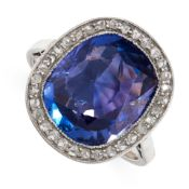 ANTIQUE SAPPHIRE AND DIAMOND RING, CIRCA 1910 millegrain-set with a cushion-shaped colour-change