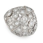 DIAMOND BAND RING in open framework, set with round cut diamonds, unmarked, size K / 5.25, 6.90g.