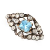 ANTIQUE AQUAMARINE AND DIAMOND RING mounted in yellow gold and silver, set with a mixed octagonal