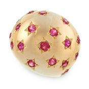 SYNTHETIC RUBY RING of bombe design, set with circular-cut synthetic rubies in star borders, size