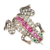 AN ANTIQUE RUBY, DIAMOND AND EMERALD FROG BROOCH in yellow gold and silver, set with cushion cut