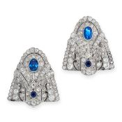 PAIR OF ART DECO BURMA NO HEAT SAPPHIRE AND DIAMOND CLIP BROOCHES each of shield-shaped design,