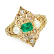 AN ANTIQUE EMERALD, PEARL AND DIAMOND RING in high carat yellow gold, set with a cushion cut emerald