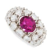 RUBY AND DIAMOND RING claw-set with an oval ruby weighing 2.40 carats, within a bombe mount set to