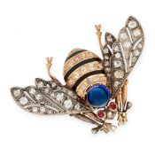 FINE ANTIQUE SAPPHIRE, RUBY, DIAMOND AND ENAMEL BEE BROOCH, 19TH CENTURY in yellow gold and