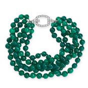 CHRYSOPRASE AND DIAMOND BRACELET comprising of five rows of polished chrysoprase beads ranging