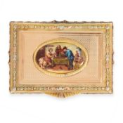 ANTIQUE PAINTED ENAMEL MINIATURE SNUFF BOX, 19TH CENTURY mounted in yellow gold, the rectangular