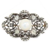 FINE ANTIQUE NATURAL PEARL AND DIAMOND BROOCH, 19TH CENTURY mounted in yellow gold, set with a