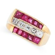 RUBY AND DIAMOND RING, HEYMAN BROTHERS of geometric deisgn, composed of slanted rows of channel-