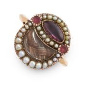 ANTIQUE GARNET, PEARL AND HAIRWORK MOURNING LOCKET RING the circular face is formed of a central