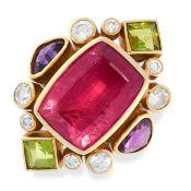 TOURMALINE, AMETHYST AND PERIDOT RING comprising of a cushion cut pink tourmaline of 6.96 carats