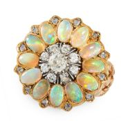 ANTIQUE DIAMOND AND OPAL RING in yellow gold, in cluster form, set with a central cluster of old cut