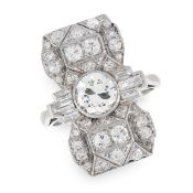 ART DECO DIAMOND DRESS RING set with a central old cut diamond of 0.92 carats between trios of