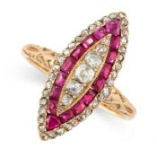 ANTIQUE RUBY AND DIAMOND RING in 18ct yellow gold, in marquise form, set with a central row of old
