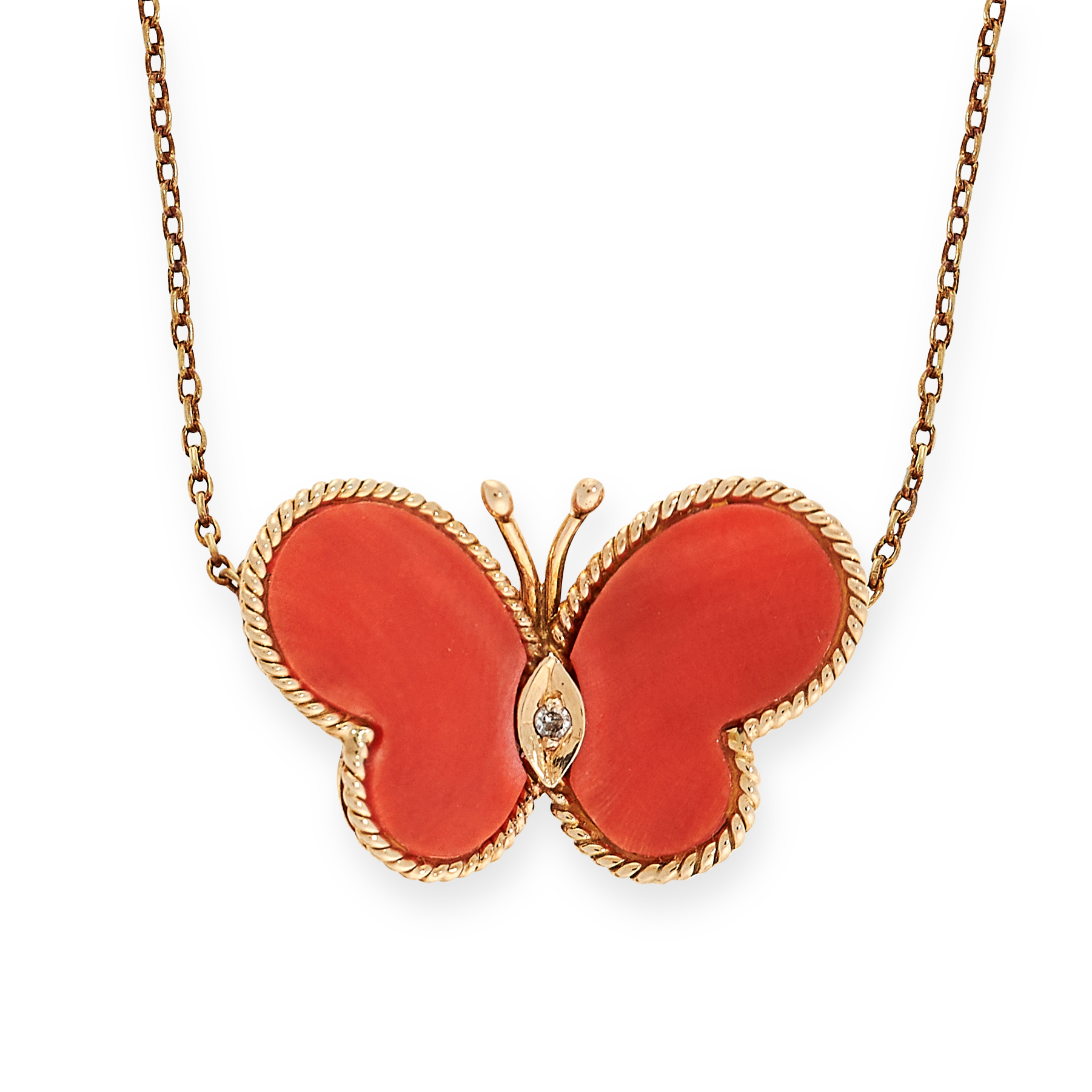 VINTAGE CORAL AND DIAMOND BUTTERFLY PENDANT NECKLACE in the form of a butterfly set with a round cut