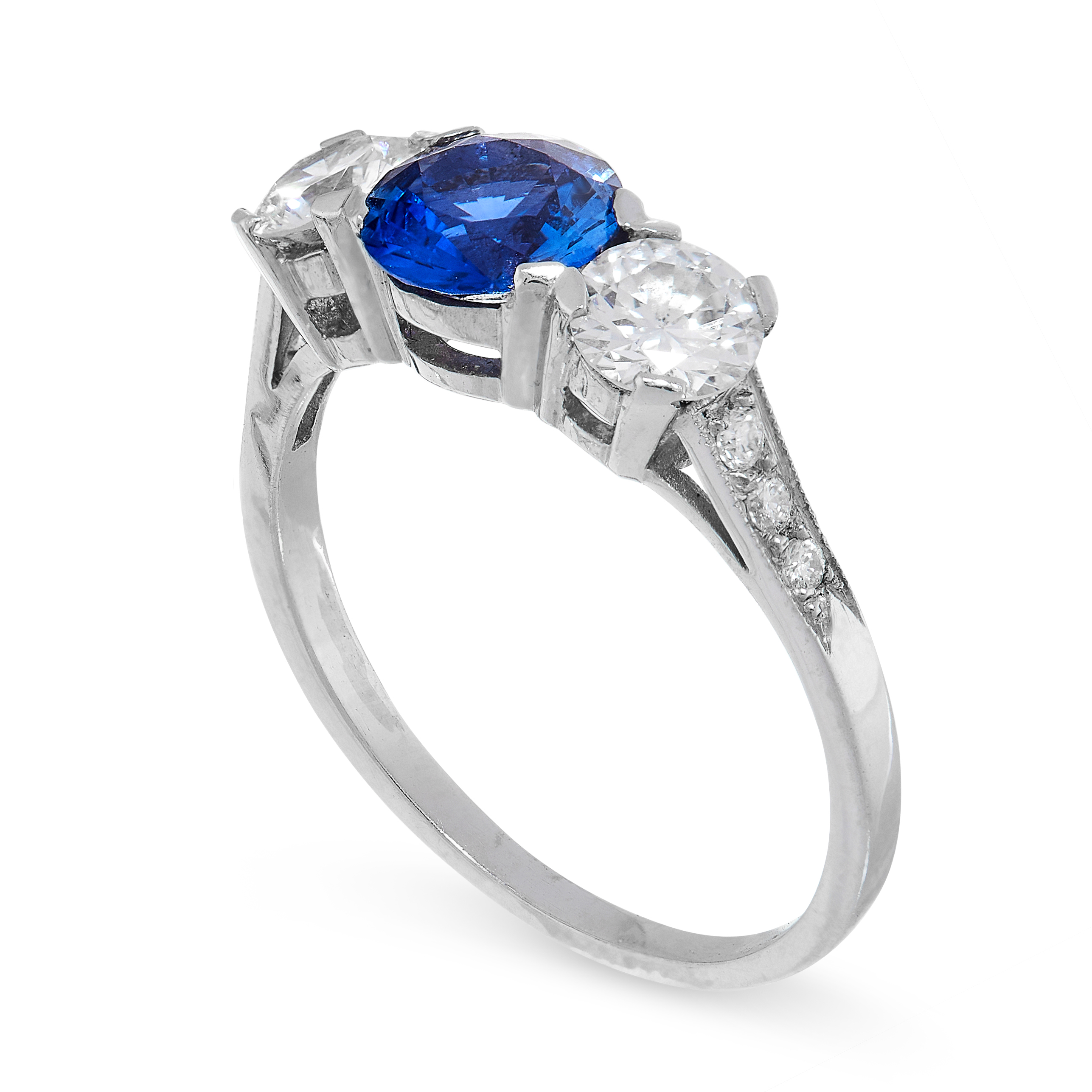 SAPPHIRE AND DIAMOND THREE STONE RING comprising of a round cut sapphire of 0.92 carats between - Image 2 of 2