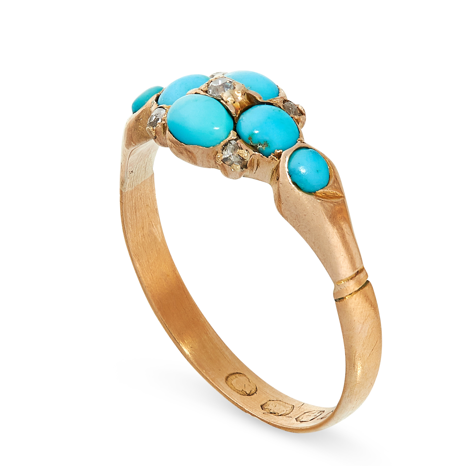 ANTIQUE TURQUOISE AND DIAMOND RING in 22ct yellow gold, in the form of a flower set with cabochon - Image 2 of 2