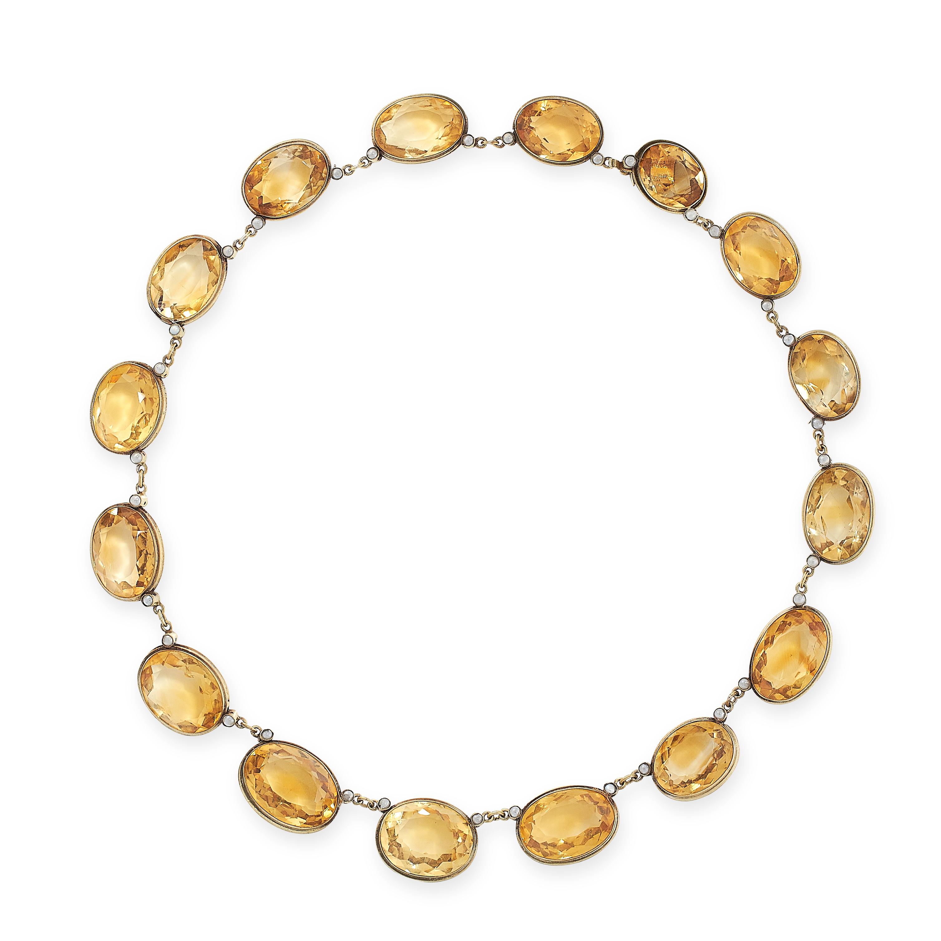 CITRINE RIVIERE NECKLACE comprising of a row of sixteen graduated oval cut citrines, 42.0cm, 55.8g.