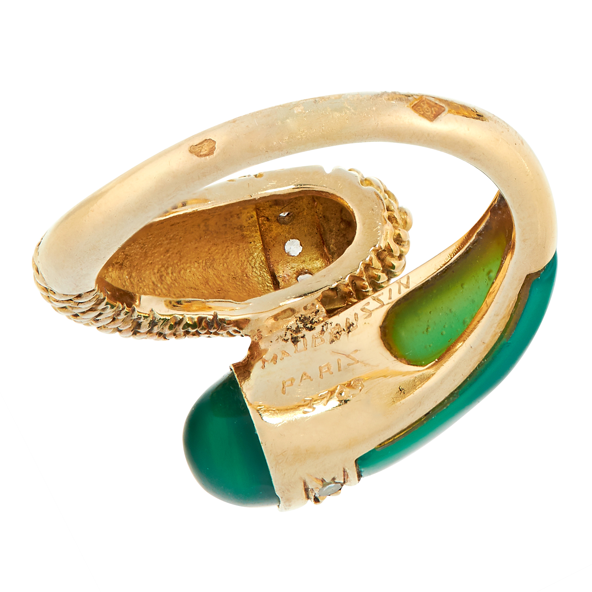 VINTAGE CHRYSOPRASE AND DIAMOND RING, MAUBOUSSIN in 18ct yellow gold, in toi et moi design, set with - Image 3 of 3