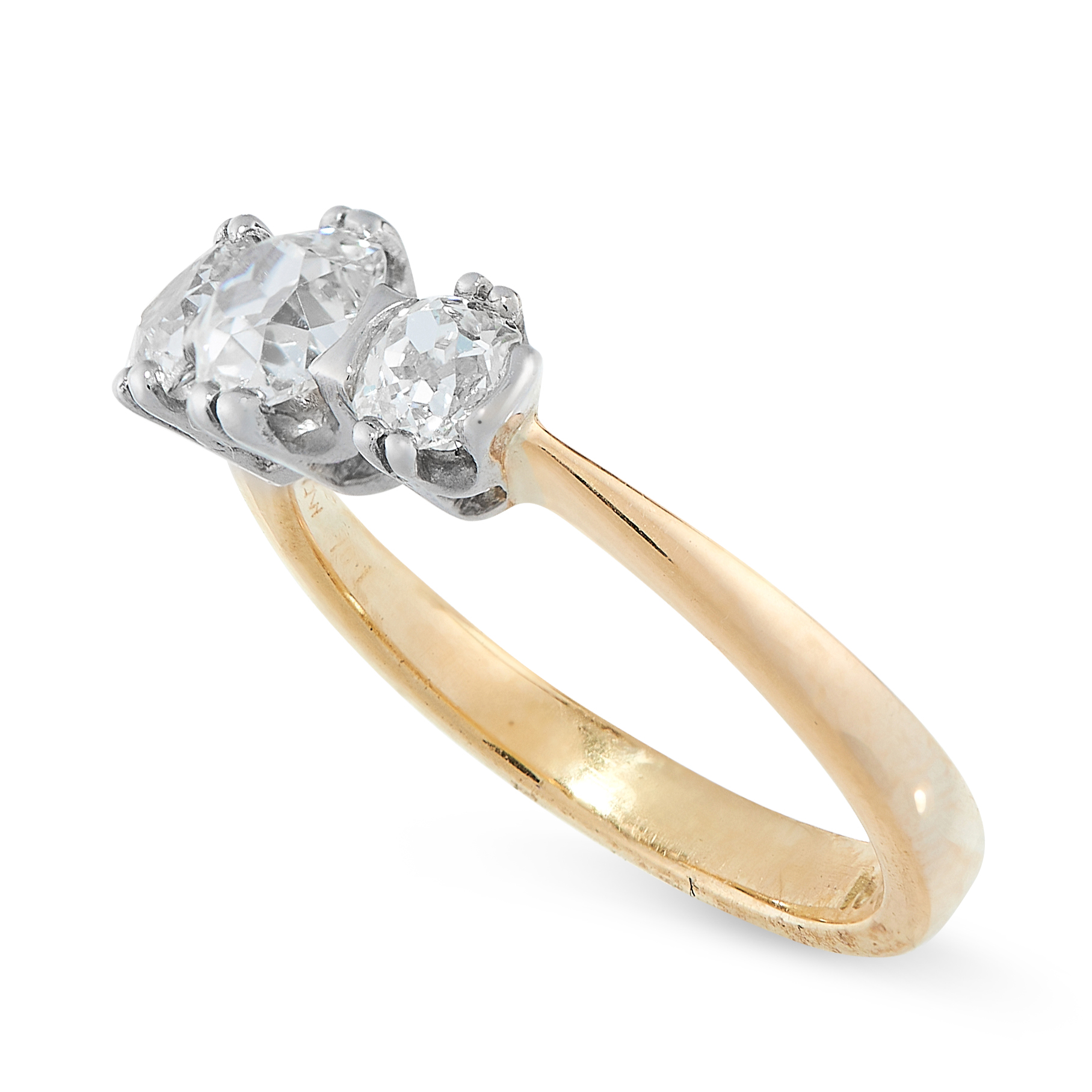 DIAMOND THREE STONE RING in 18ct gold and platinum, set with three old cut diamonds all totalling - Image 2 of 2