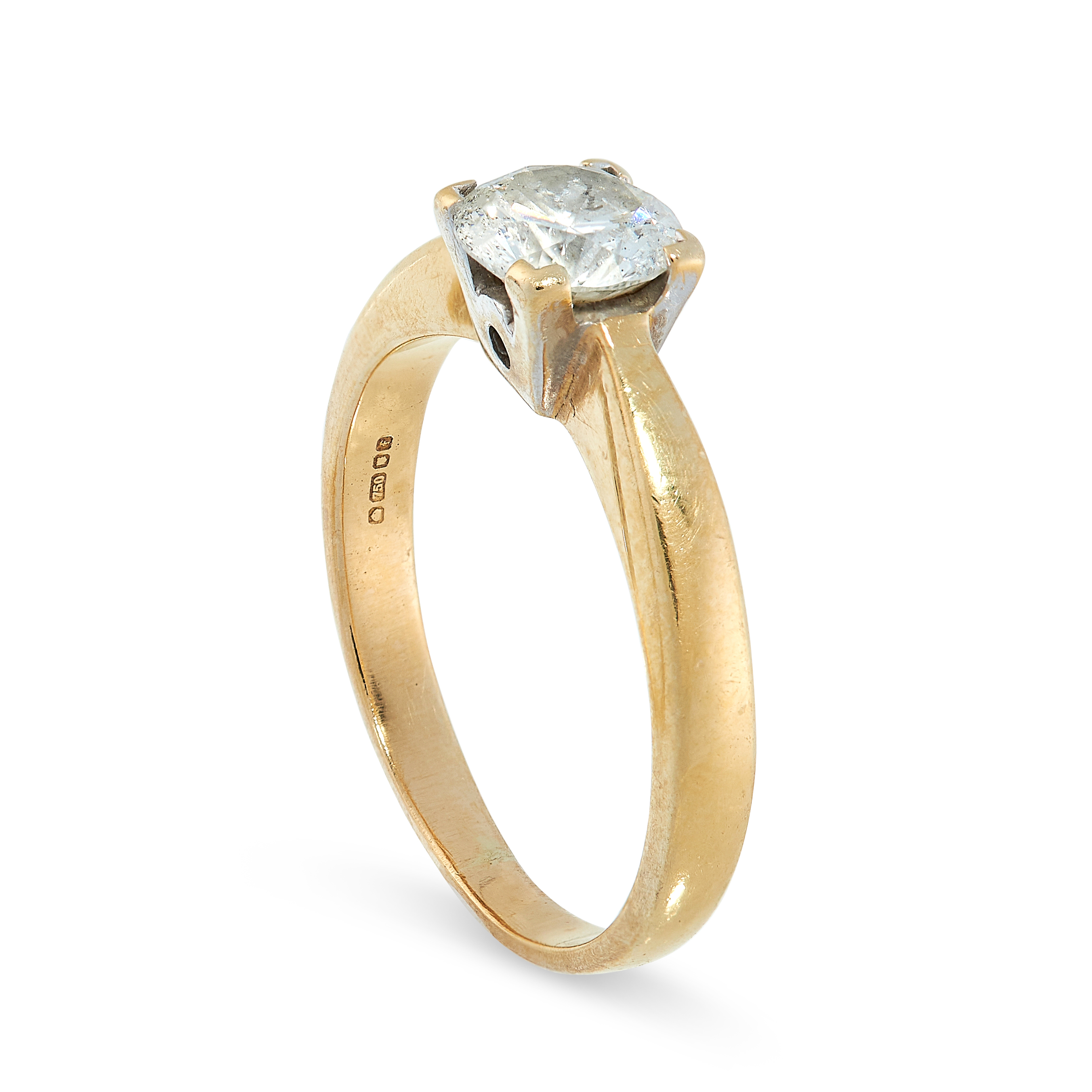 DIAMOND SOLITAIRE RING in 18ct yellow gold, set with a round cut diamond of 0.85 carats, British - Image 2 of 2