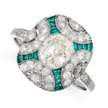 DIAMOND AND PLIQUE A JOUR ENAMEL RING in Art Deco style, comprising of a central oval old cut