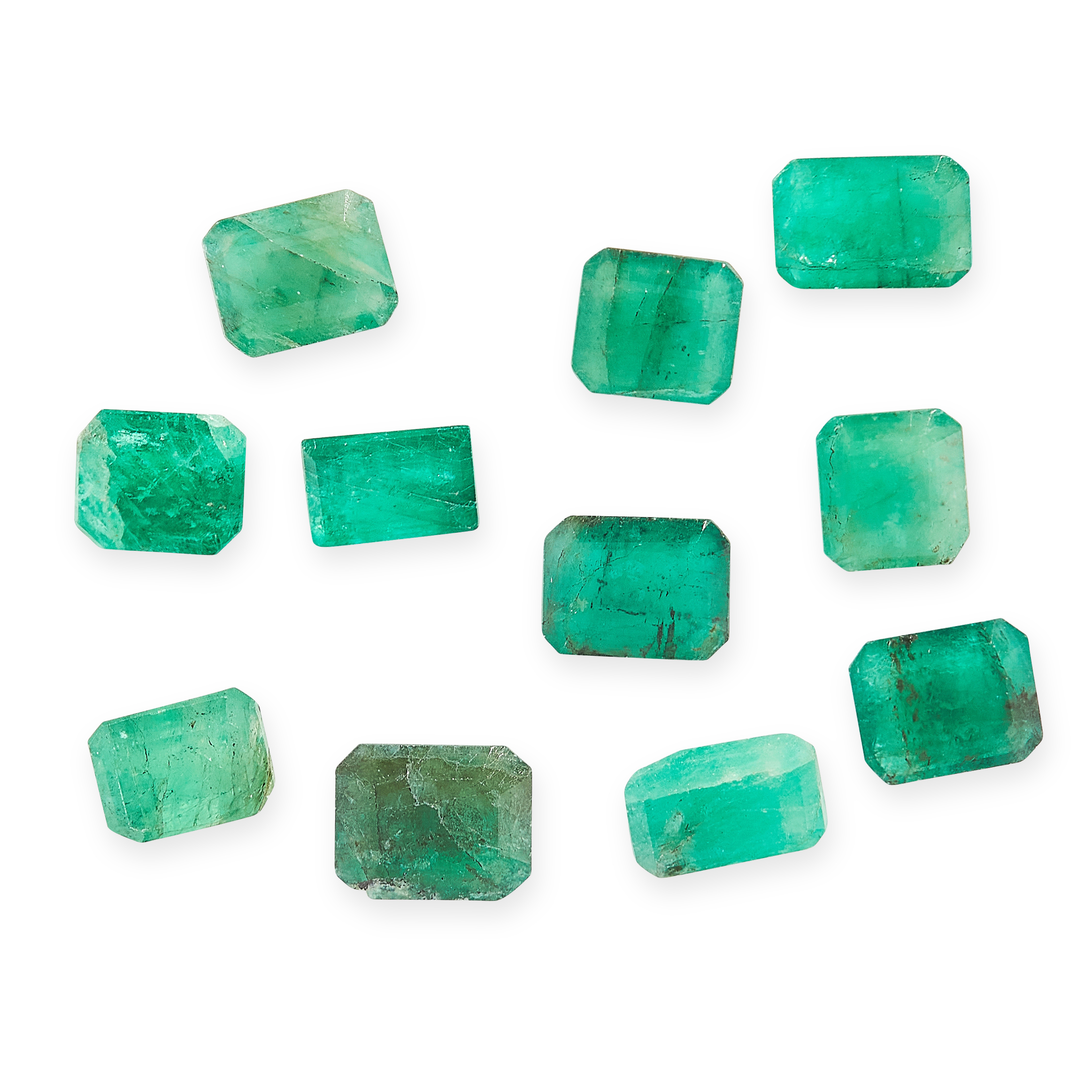 MIXED LOT OF UNMOUNTED EMERALDS of various cuts, totalling 10.00 carats.