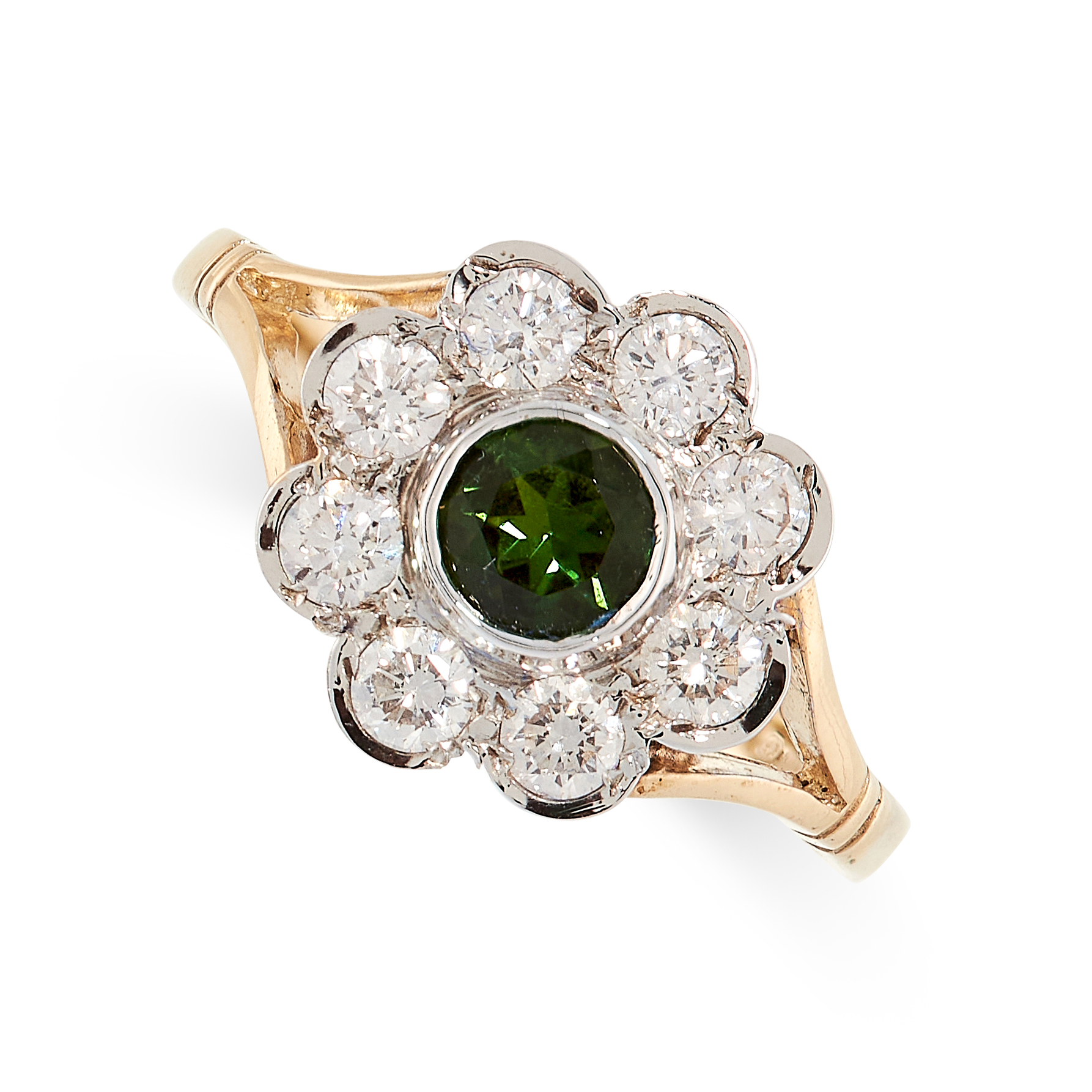 GREEN TOURMALINE AND DIAMOND RING in yellow gold, in cluster form, set with a round cut tourmaline
