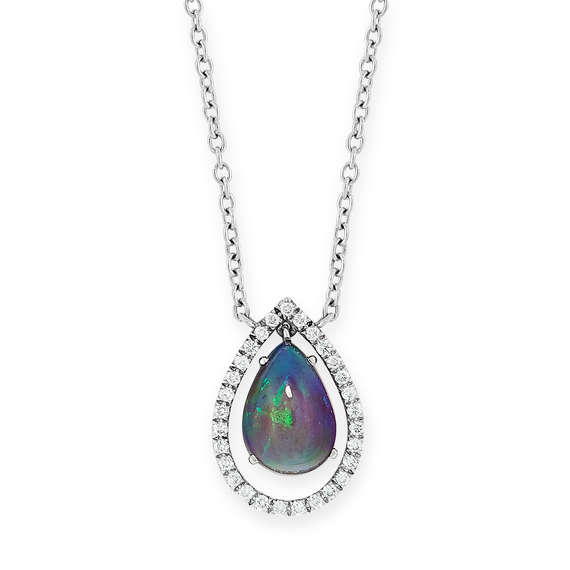 BLACK OPAL AND DIAMOND PENDANT set with a pear cabochon black opal of 1.25 carats in a border of