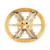 ANTIQUE SMOKEY QUARTZ AND PEARL 10TH ANNIVERSARY BROOCH, LATE 19TH CENTURY in yellow gold, of open