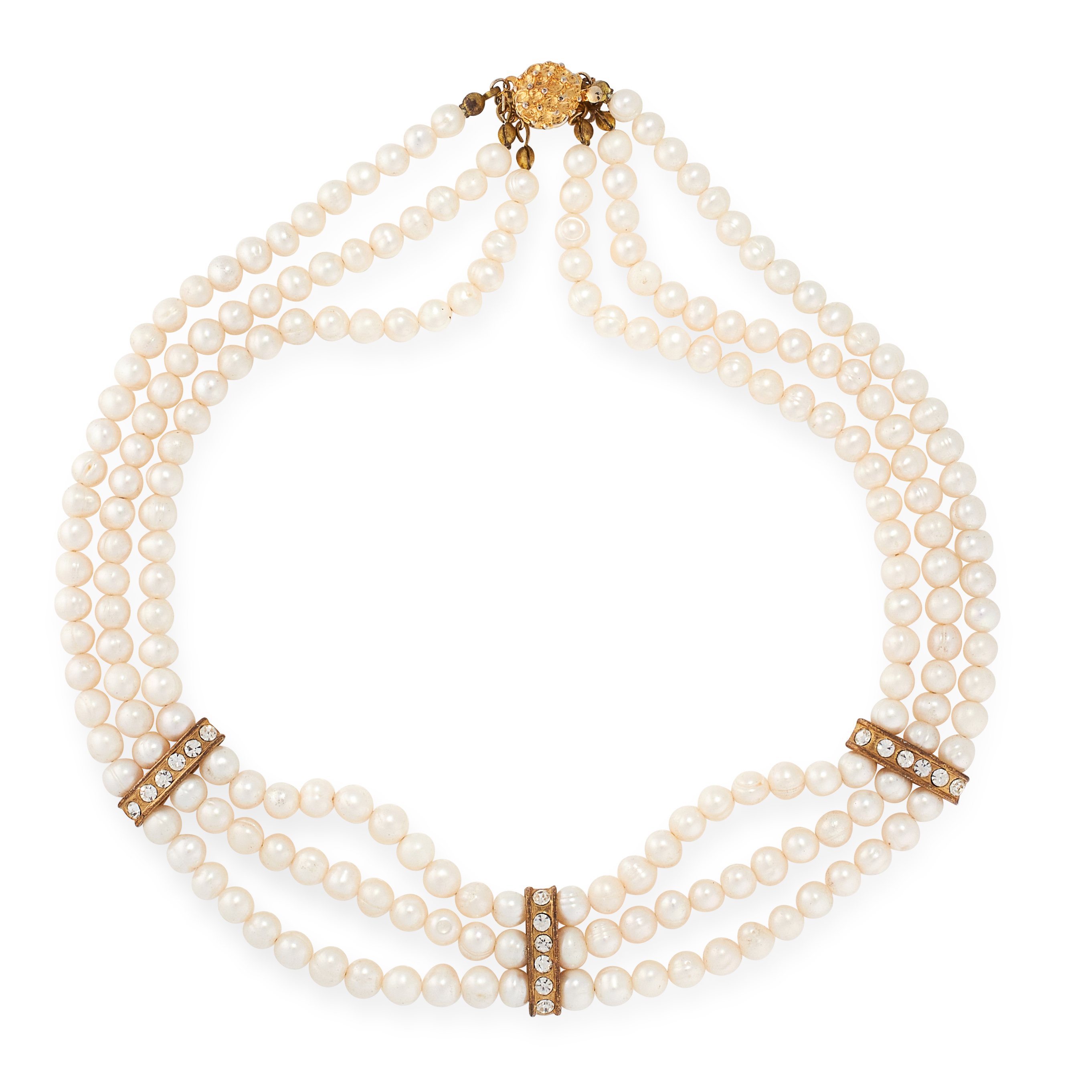 A PEARL CHOKER NECKLACE comprising of three rows of pearl beads ranging from 6.1mm-6.6mm, with paste