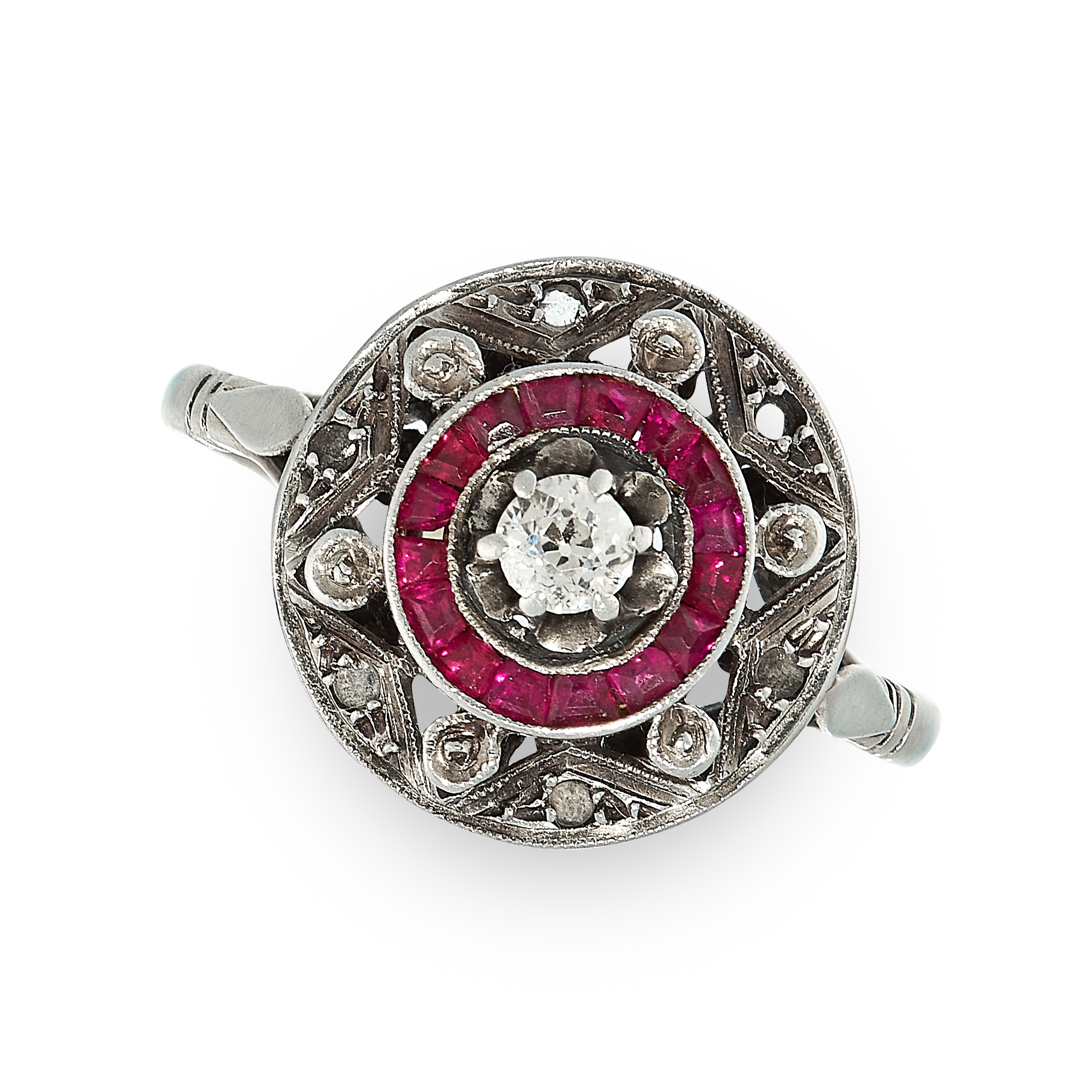 ART DECO RUBY AND DIAMOND TARGET RING the circular face is set with an old cut diamond in a border