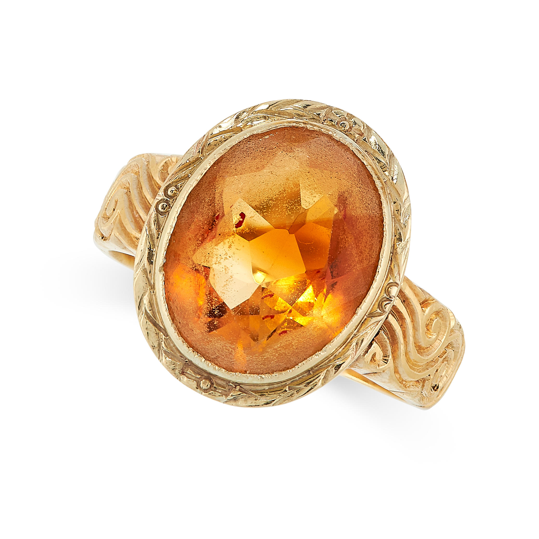 VINTAGE CITRINE EARRINGS AND RING SUITE each set an oval cut citrine within gold border, citrines