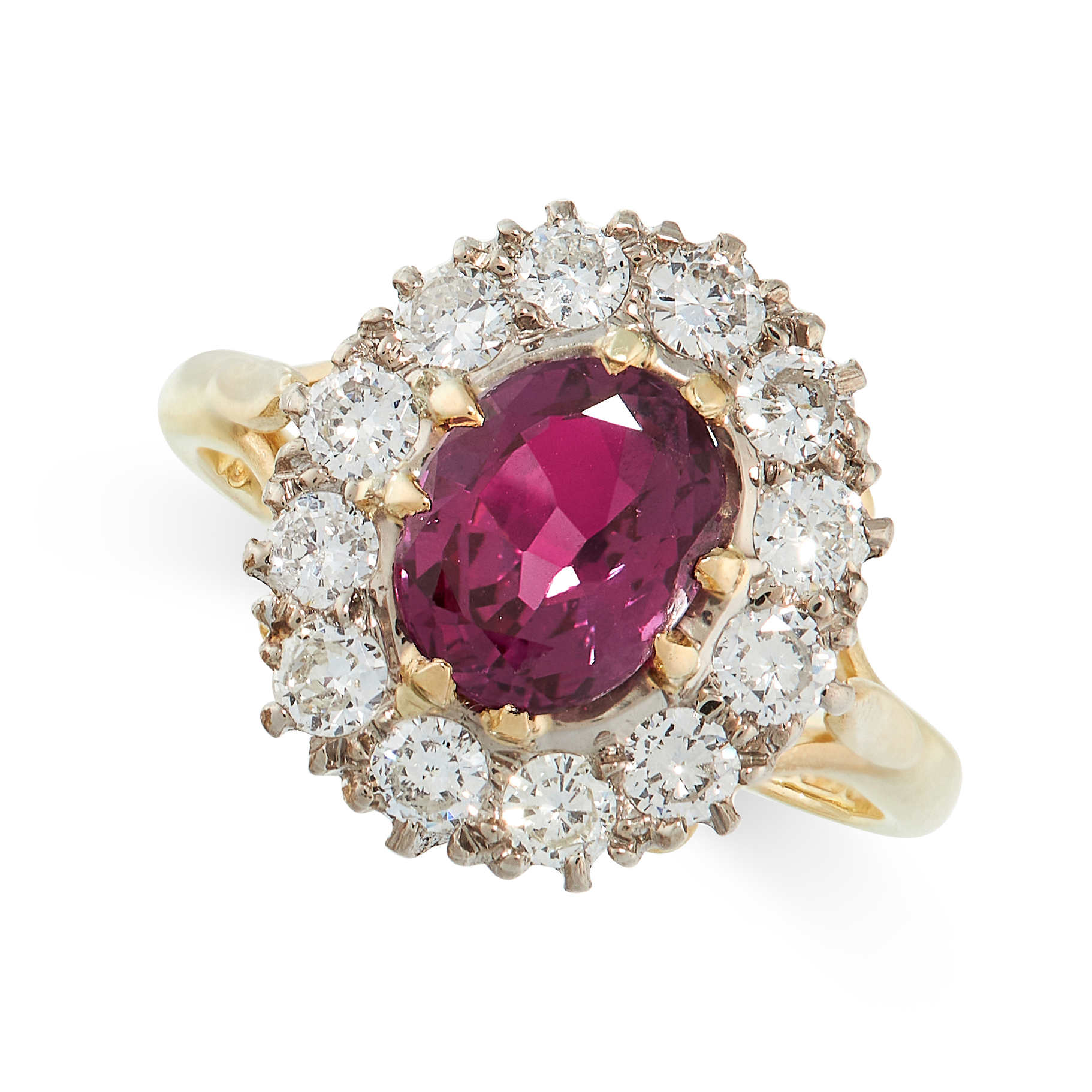 UNHEATED RUBY AND DIAMOND RING in 18ct yellow gold, in cluster form, set with a cushion cut ruby