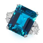 EXCEPTIONAL AQUAMARINE AND DIAMOND RING in platinum, formed of an emerald cut aquamarine of 19.50
