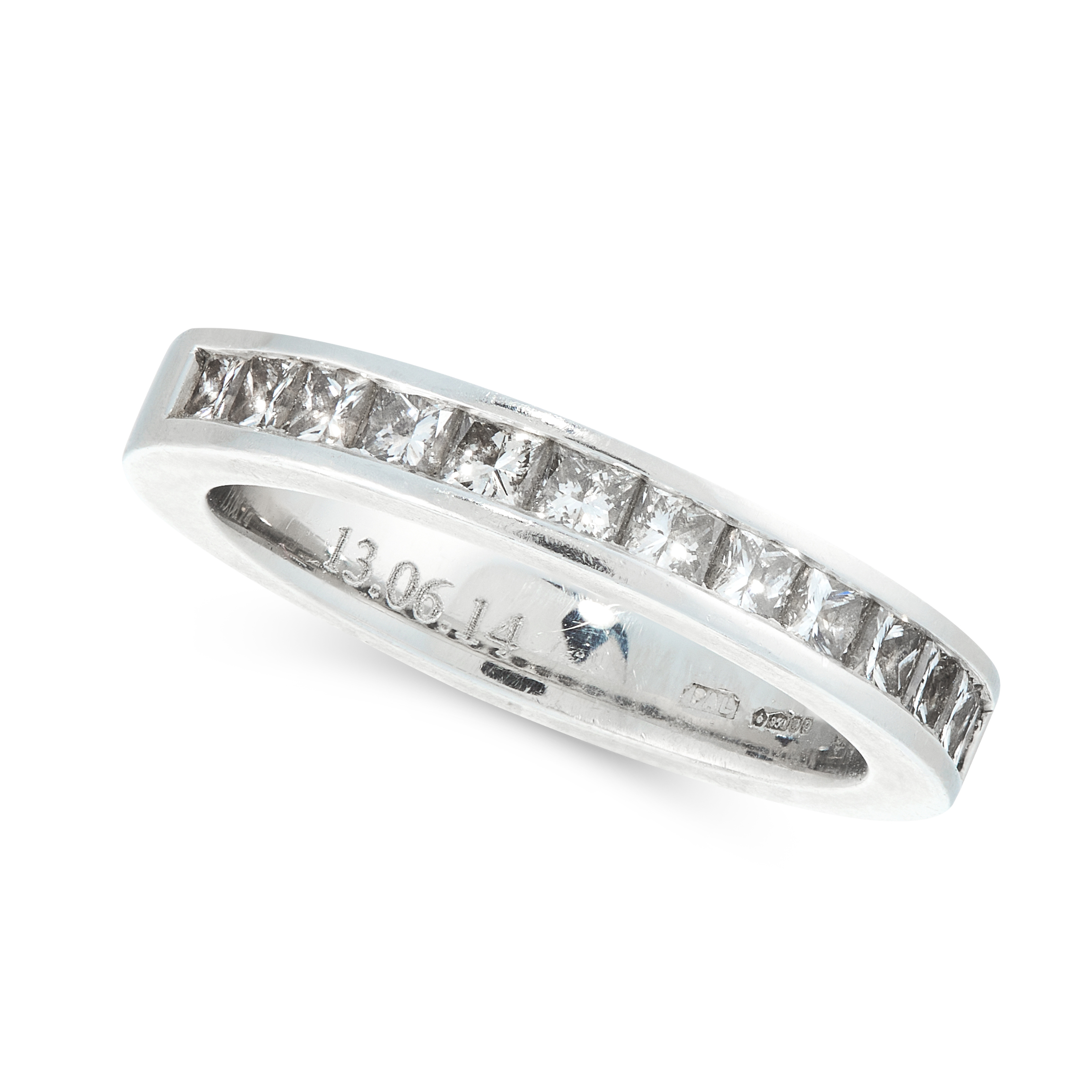 DIAMOND ETERNITY RING in platinum, the band designed as a half eternity, channel set with princess