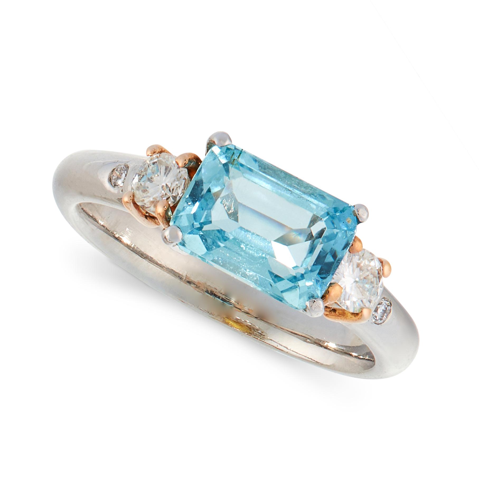 AQUAMARINE AND DIAMOND DRESS RING, HIRSH in platinum, set with an emerald cut aquamarine of 1.72