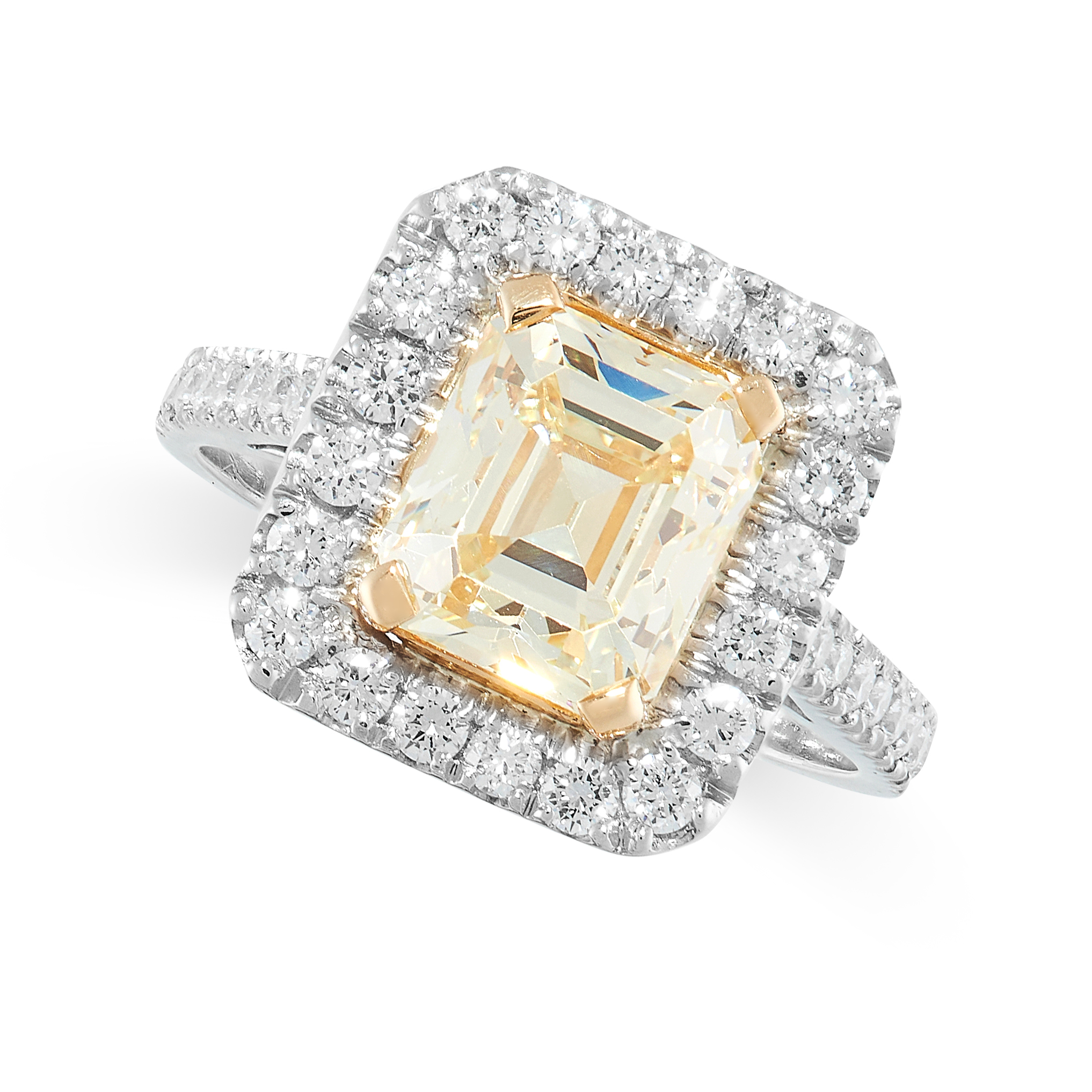 YELLOW DIAMOND AND DIAMOND RING claw set to the centre with an emerald cut yellow diamond of 3.05