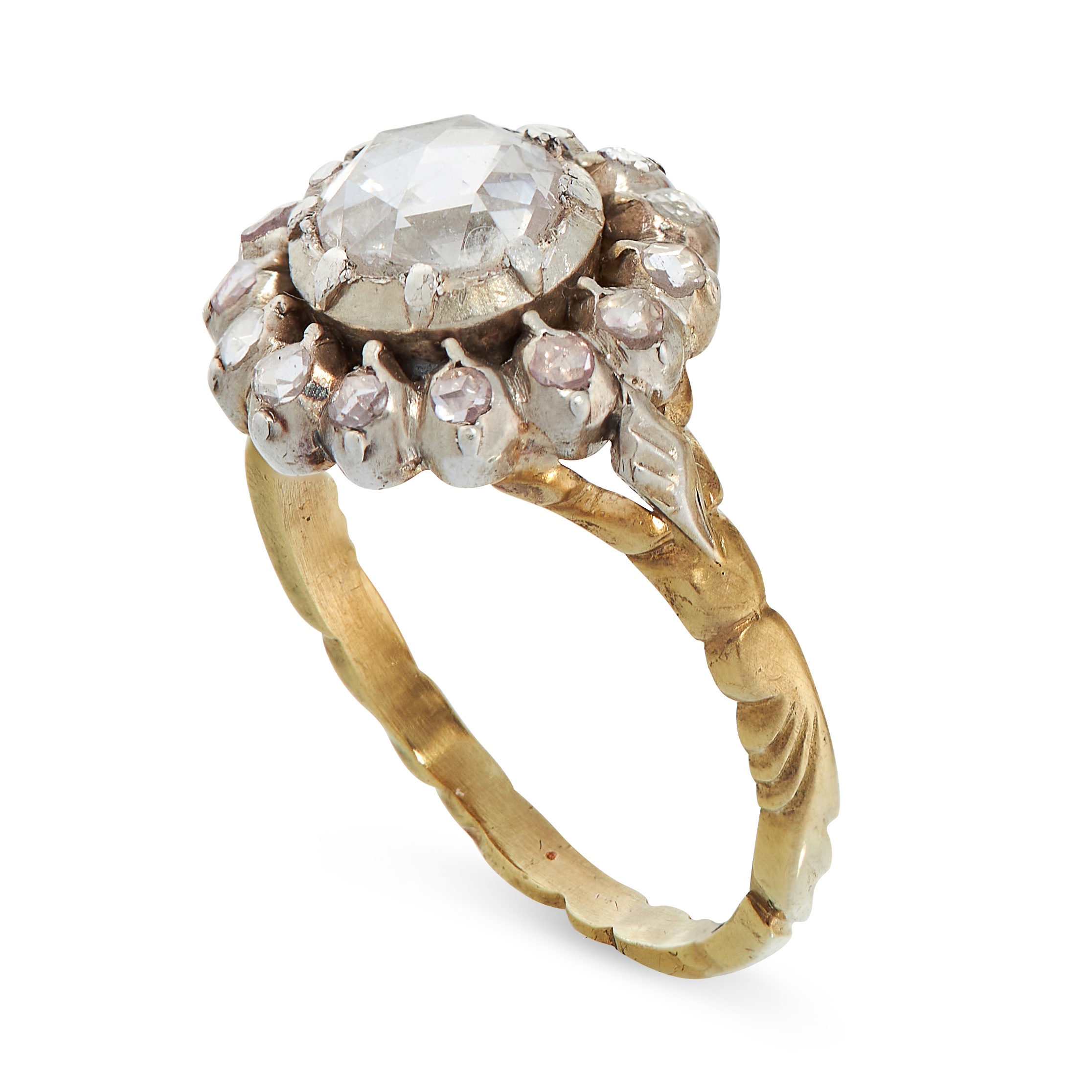 ANTIQUE GEORGIAN DIAMOND RING in yellow gold and silver, in cluster form, set with a central rose - Image 2 of 2