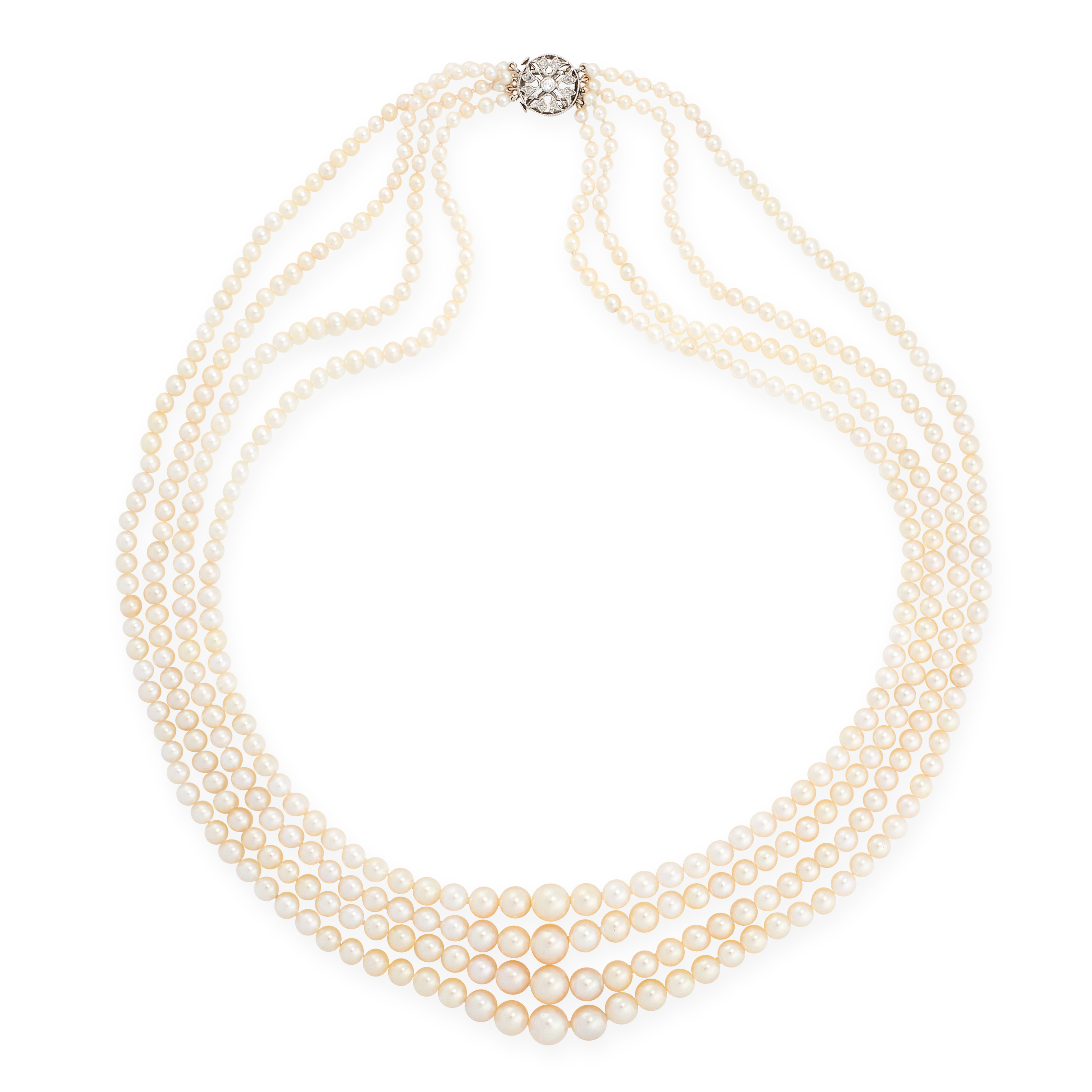PEARL AND DIAMOND NECKLACE designed as four rows of graduated pearls measuring 2.5-7.1mm diameter,