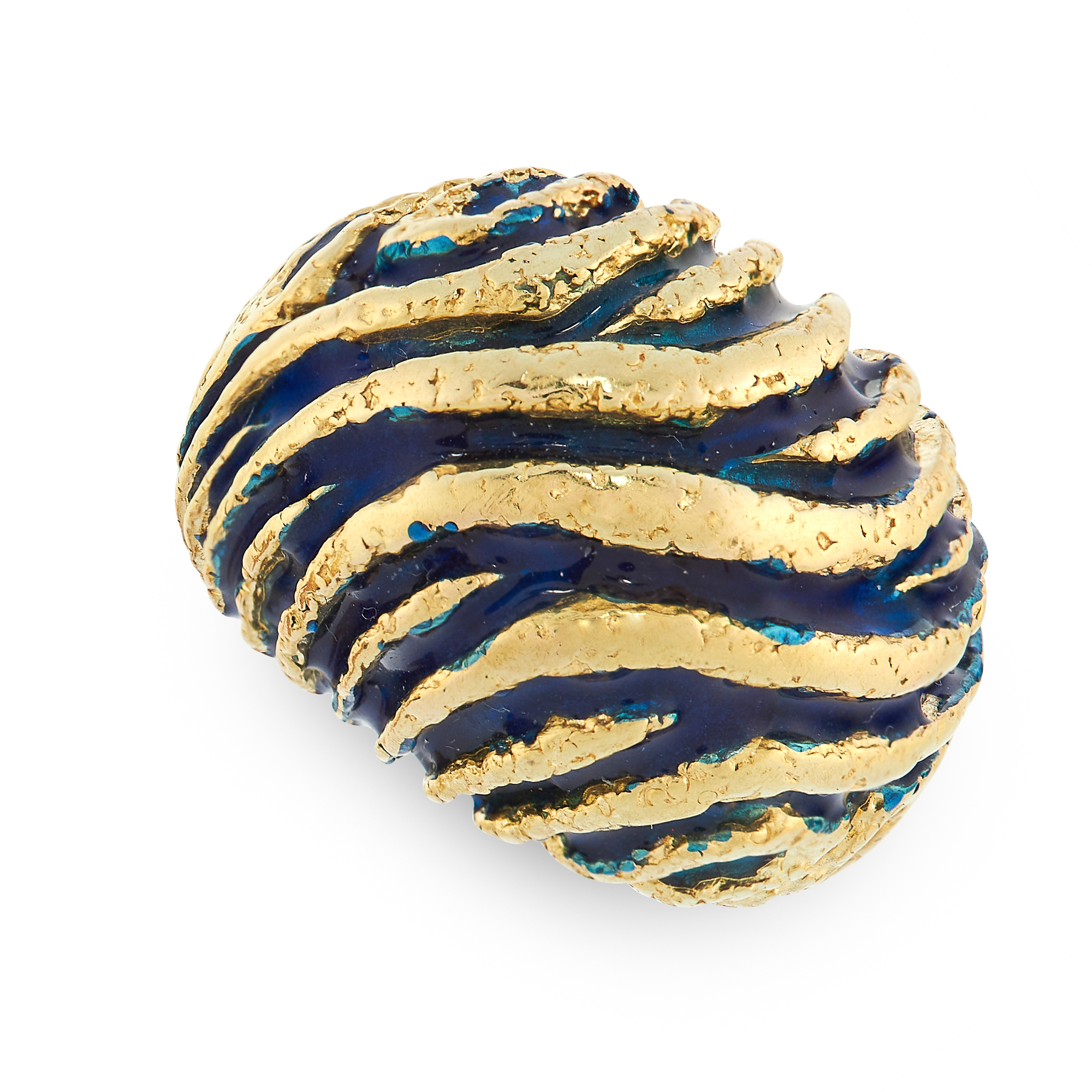 ENAMEL RING, VAN CLEEF & ARPELS in bombe form, the surface textured with alternating twisted gold