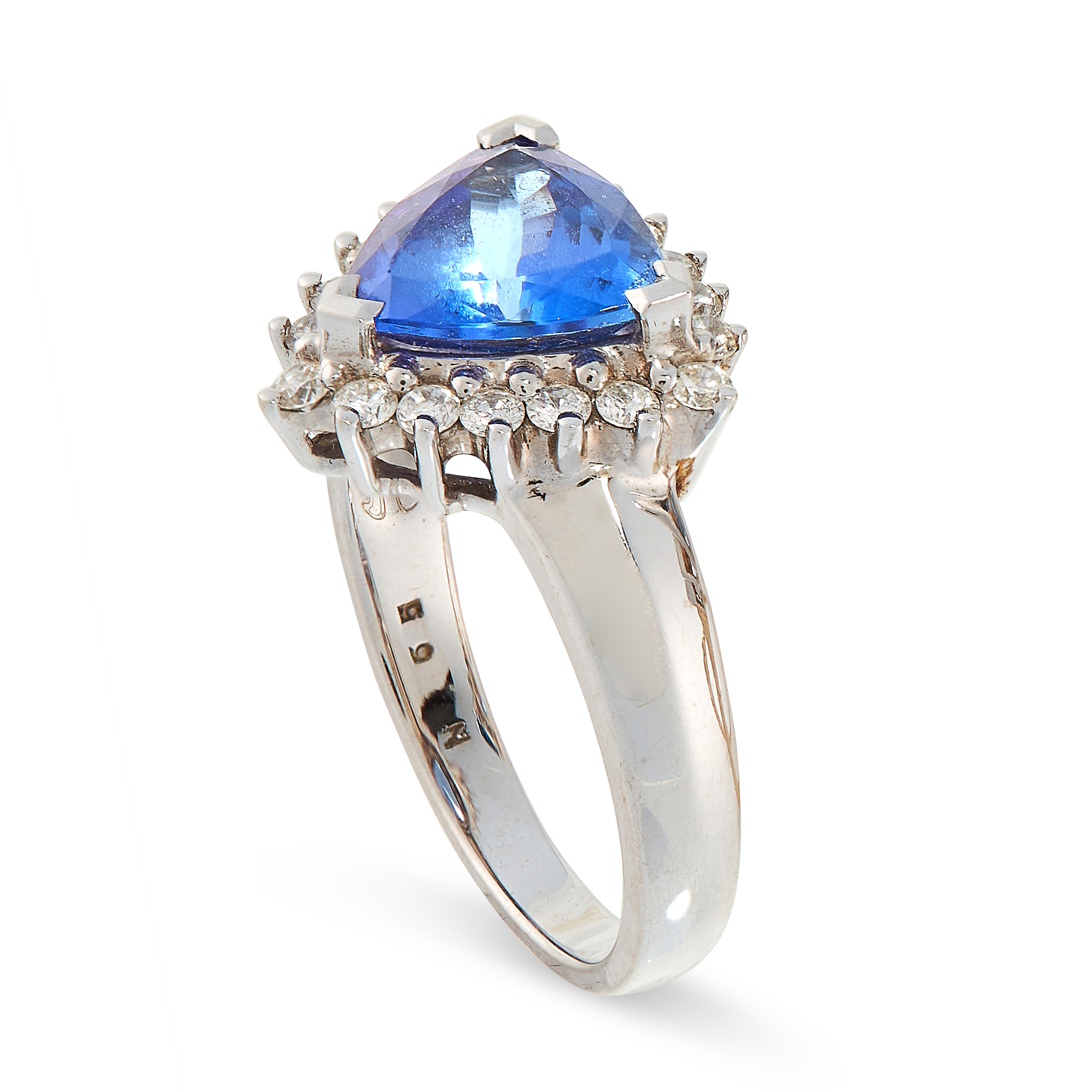 TANZANITE AND DIAMOND RING comprising of a trillion cut tanzanite of 1.92 carats in a border of - Image 2 of 2