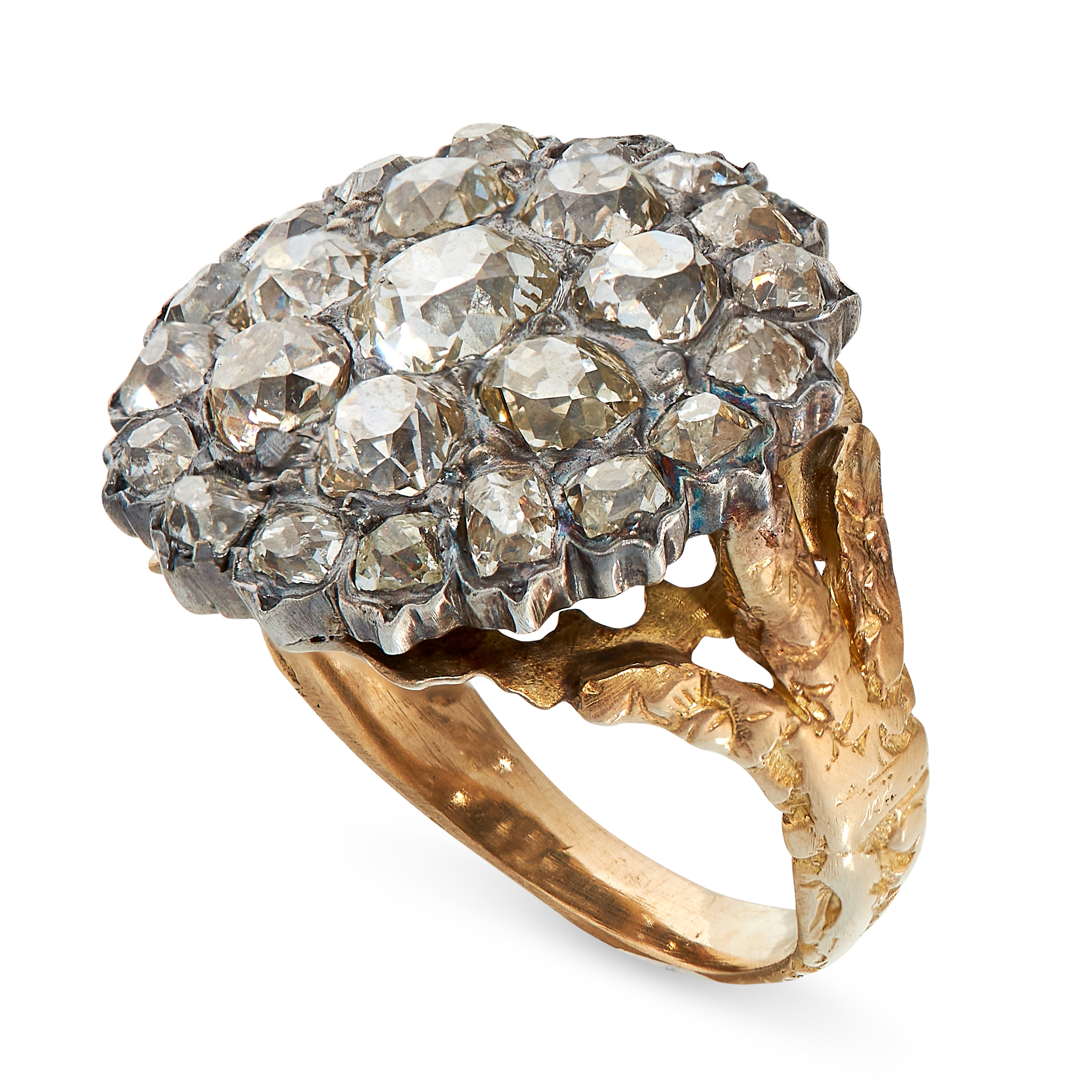 ANTIQUE DIAMOND RING in yellow gold and silver, in cluster form set with old cut diamonds, all - Image 2 of 2