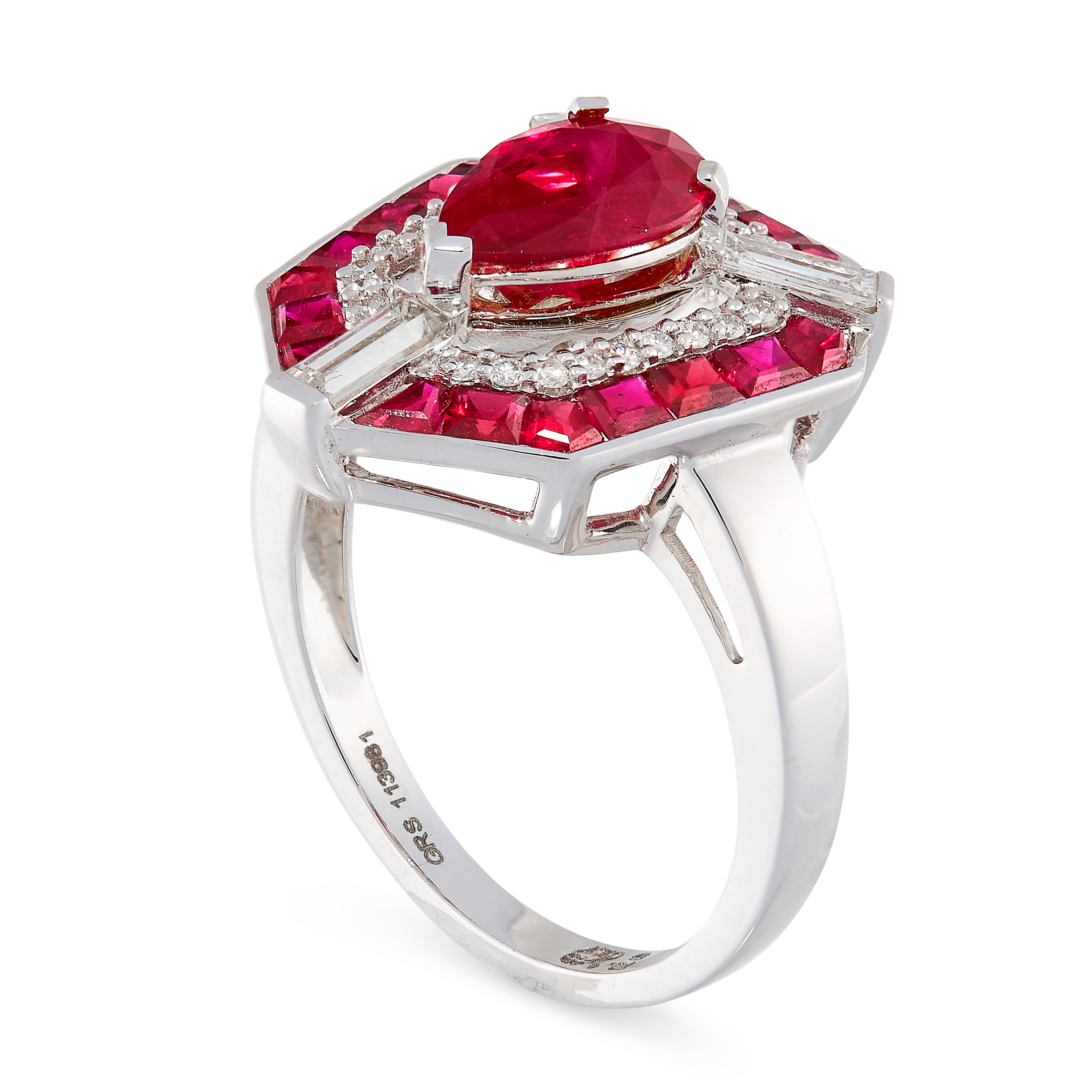 UNHEATED RUBY AND DIAMOND RING set with a pear cut ruby of 1.40 carats in a border of round cut - Image 2 of 2
