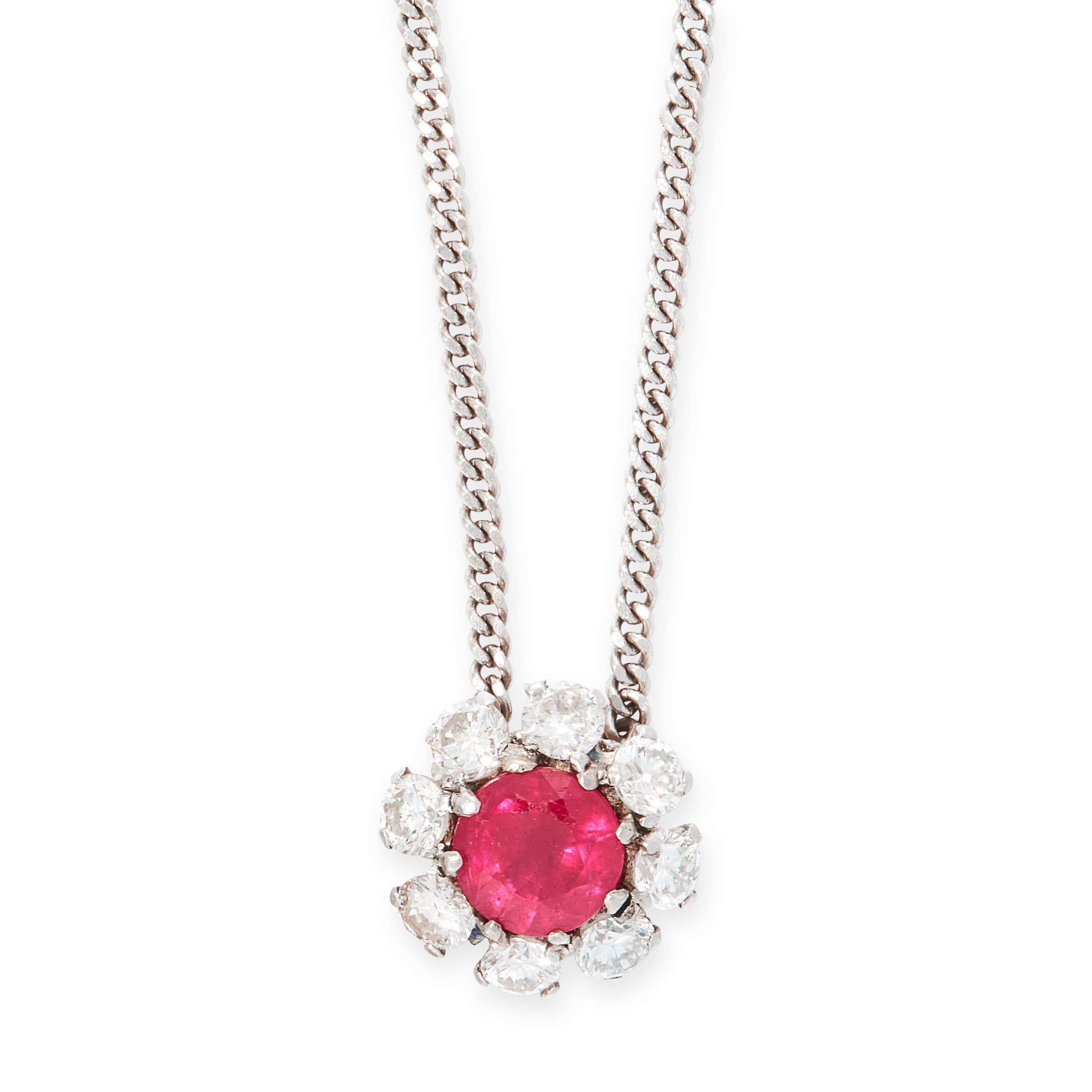 RUBY AND DIAMOND PENDANT NECKLACE set with a round cut ruby of 1.22 carats within a border of