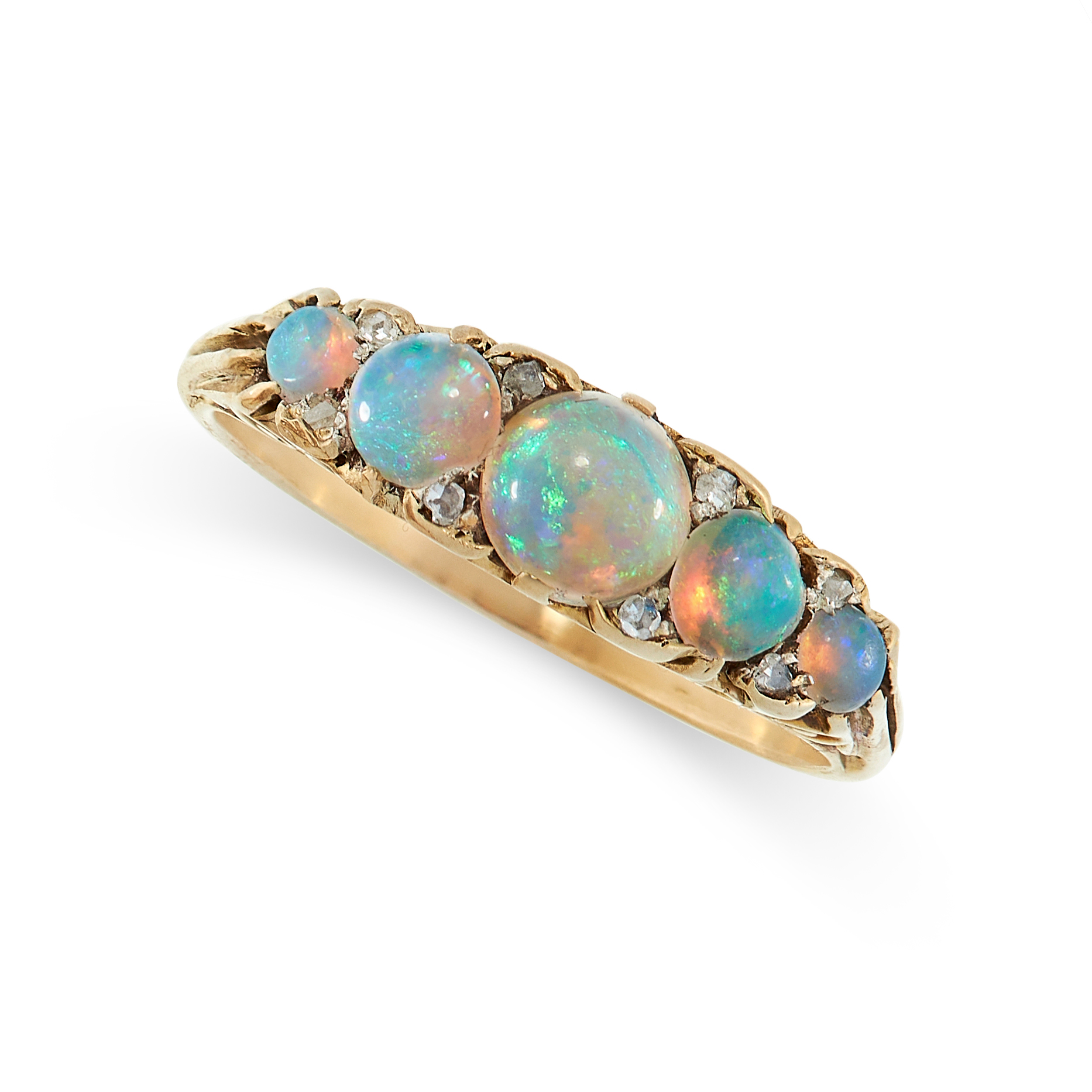 ANTIQUE OPAL AND DIAMOND RING in yellow gold, comprising of five cabochon opals accented by rose cut